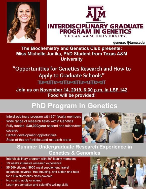 Opportunities for Summer Genetics Research and How to Apply to Graduate Schools