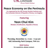 """""""Peace Economy on the Peninsula"""" with South Korean Minister of Unification, Yeon Chul Kim"""