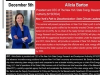 "Energy Engineering Seminar: Alicia Barton ""New York's Path to Decarbonization: State Climate Leadership Under the Climate Leadership and Community Protection Act"""