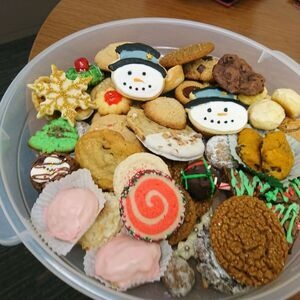 bowl of assorted holiday cookies