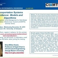 Seminar Speaker, Elise Miller-Hooks:  Transportation Systems Resilience:  Models and Algorithms