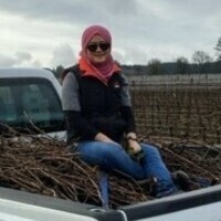 Balkis in bed of truck with grape cane