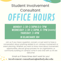 Student Involvement Consultant Office Hours