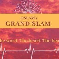red poster with starburst and heart beat lines promoting a poetry slam.