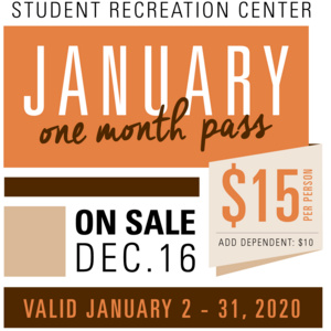 Rec Center January One Month Pass - On Sale Now
