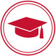 red graduation cap icon