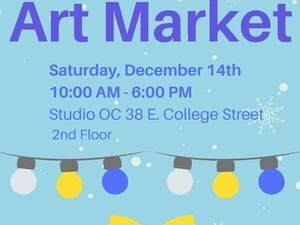Art Market Info in a blue poster with blue lettering.