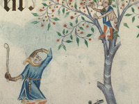 A child (or teenager) sits in an apple tree. He throws apples down at an adult who cannot reach him.