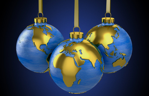 Ornaments hanging with world map