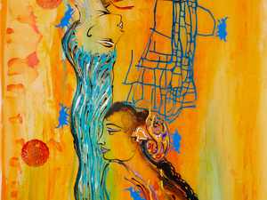 Ananvaz and Shahrnaz, Mixed Media on Vellum Paper, 3'x7'