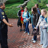 Agnes Scott Officer speaking to students
