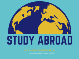 image of the globe with the words study abroad and #takeonyourworld