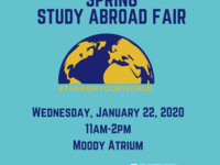 Spring study abroad fair with date (1/22), time (11am-2pm), and location (Moody Atrium). Half a globe on a teal background.