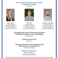 Criminology Forum 12/9, Graduate Student Research Award Presentations