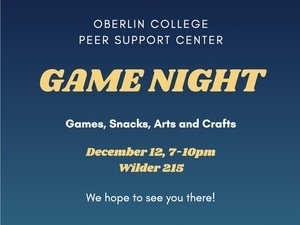 blue poster announcing game night in wilder hall.