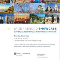 Study Abroad Showcase for Summer, Fall, Academic Year, and December programs.