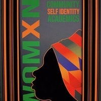 """Silhouette of womxn in head wrap with words """"Womxn"""", """"Community"""", """"Self Identity"""" and """"Academics""""  in the back"""