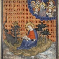 John of Patmos writing down his visions of the Apocalypse, c. 1400-1405 (Philadelphia Free Library, Lewis E M 8:13b)