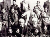 Family portrait of S. Ramaswamy Iyer, Tamil Brahmans, 1880s