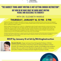 """""""The Hardest Thing About Writing is Not Getting Enough Instruction"""": But How Do We Make What We Know About Writing Visible and Accessible to Students? with Dr. Elizabeth Wardle"""