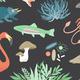 cartoon of microbes, plants, animals depicting evolution