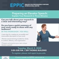 Preparing an Elevator Speech: Explain Your Research in Three Minutes