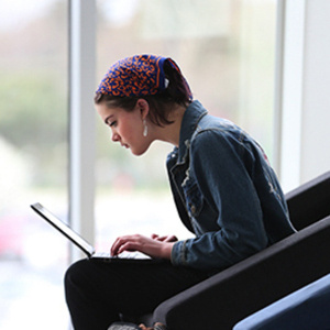 Female student on laptop