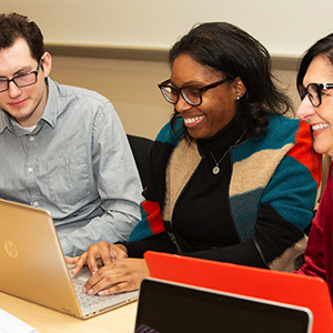 3 students working in a group