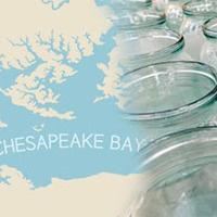 Glass jars over map of Chesapeak Bay