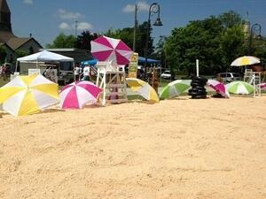 sand, beach umbrellas