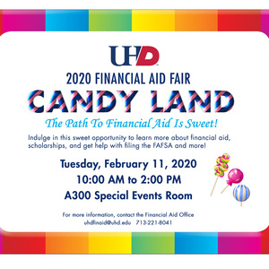 2020 Financial Aid Fair flyer. Candy Land theme