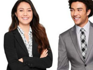 woman and man dressed in business suits