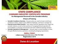 STATE COMPLIANCE  CANNABIS INDUSTRY CERTIFICATE PROGRAM