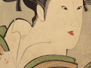 Utagawa Kunimasa, detail of The Actor Iwai Kumetaro as the Kamuro Tayori from the Shimbara District in Kyoto, 1796. Mary A. Ainsworth Bequest, 1950.473