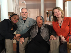 Author Toni Morrison (center) with film directors Geoff Pingree and Rian Brown-Orso (far right)