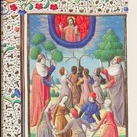 Christian dancers, Augustine, La Cité de Dieu, translation by Raoul de Presles, Maître de François, illuminator, Paris, circa 1475- 1480, Museum Meermanno MMW 10 A 11, fol. 237v