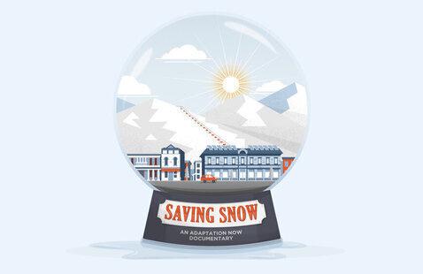 Saving Snow showing a snow globe scene.