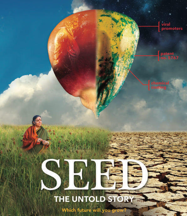 Seed showing a stylized seed and woman contrasting fertile and desolate.