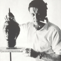 Studio Portrait of Bartscht sculpting the busto of wife Waltraud Bartscht, c 1964, courtesy of the University of Dallas Archives