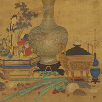 "Image: Detail of the Chinese 18th-century painting ""Auspicious Still Life."" Gift of Charles L. Freer, 1912.37"