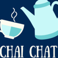 """Teapot and cup with the text """"Chai Chat"""""""