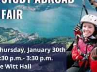Study Abroad Fair: Thursday, January 30th from 1:30 - 3:30 pm, de Witt Hall; Lasell social media handles for Instagram, Twitter, Facebook