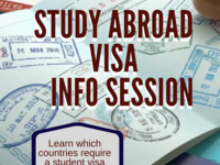 Study abroad visa info session: Learn which countries require a student visa and how to get one. Tuesday, April 9th, Winslow Academic Center, Sargen 201