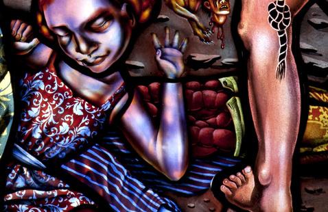 detail of Judith Schaechter's stained-glass art