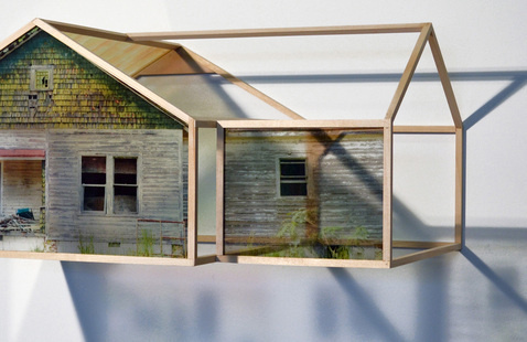 """Frank Poor,Abandoned House – Apex, NC, 2015, Waterslide print on glass, Basswood, 11"""" x 24"""" x 15"""""""