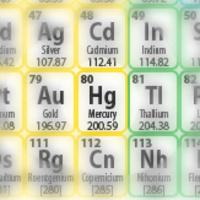 Periodic table of elements focused on Hg Mercury