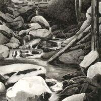 Detail: Jason Travers, Ringing Rocks, 2019, Ink wash on paper