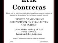 Biomedical & Biological Sciences Thesis Seminar: Erik Contreras
