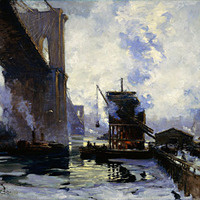 Jonas Lie captures the new American landscape of industry and technology by painting the gritty underside of the Brooklyn Bridge.