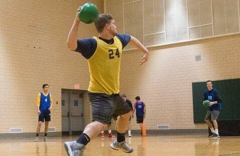 man playing dodgeball